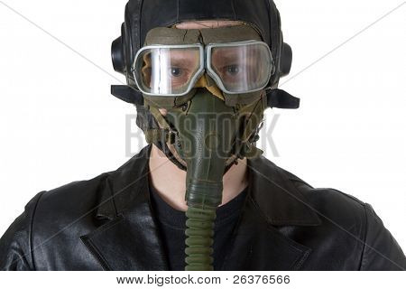 Russian second world war pilot with earphones, goggles and  oxygen mask isolated on white.