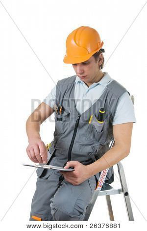 Construction worker sitting on ladder. Isolated.