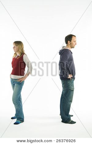 young couple having problems with relationships. Image with clipping path