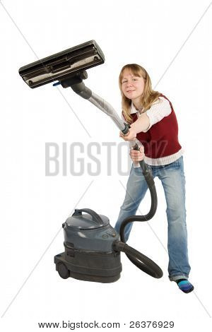 Woman with vacuum cleaner in hands.Isolated on white with clipping path.