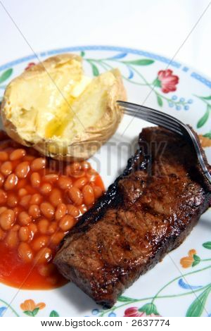 Sirloin Beef Steak, Baked Beans, Potato