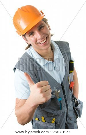 "Smiling construction worker showing ""thumb up"" gesture."