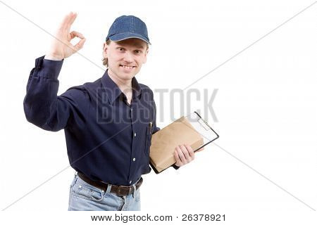 Happy man with small box showing ok gesture