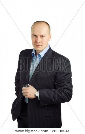 a photo of businessman standing on white background and holding a mobile in his hand