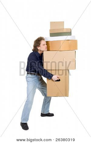 photo of a tired man carrying many cardboard boxes