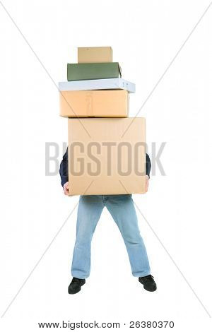 photo of a man holding many boxes in his hands, only legs and hands visible