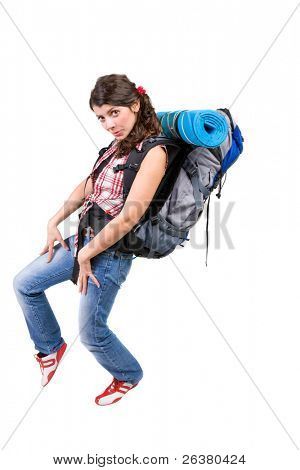 photo of a young woman with a tourist rucksack