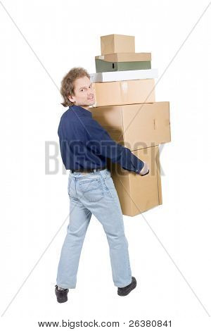 man carrying many cardboard boxes