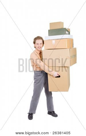 young man carrying many cardboard boxes