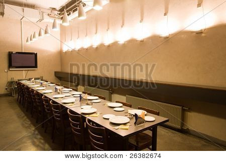Table is set for dinner in VIP room