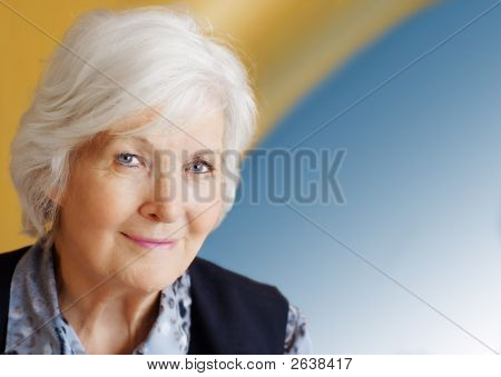 Senior Woman On Blue