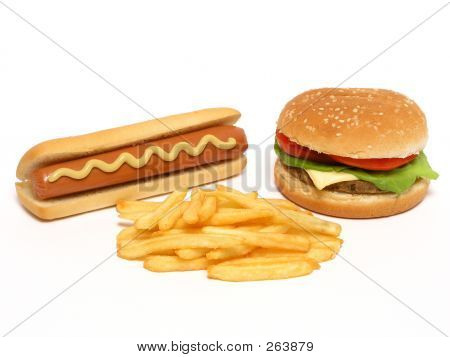 Hamburguesa, Hot Dog y papas fritas