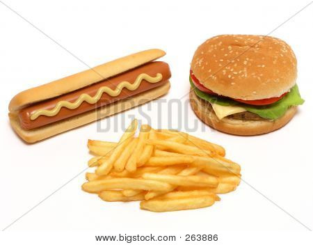 Hamburger, Hot Dog und Pommes frites