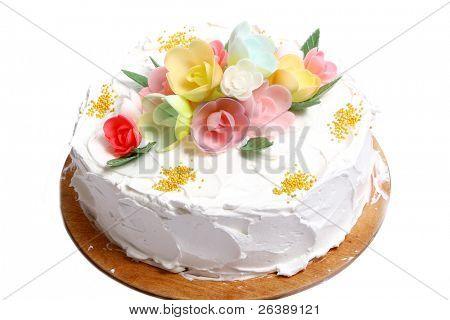 sweet wedding cake on white