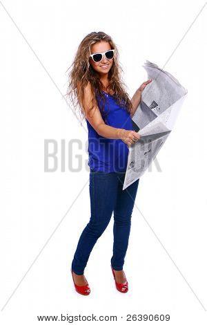 beautiful woman reading fresh newspaper