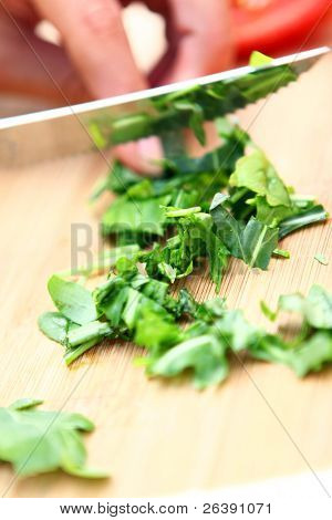 woman hand doing green salad