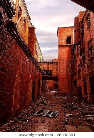 Ruined Old Redbrick Factory