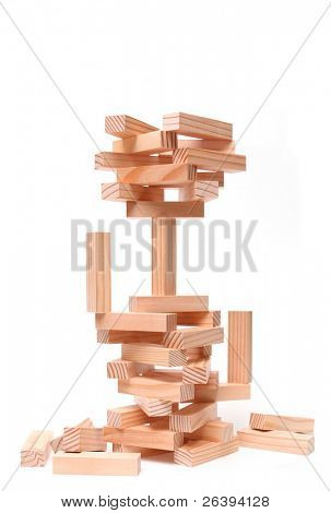 wood building blocks displaying an array of concepts. generic blocks closeup isolated over white