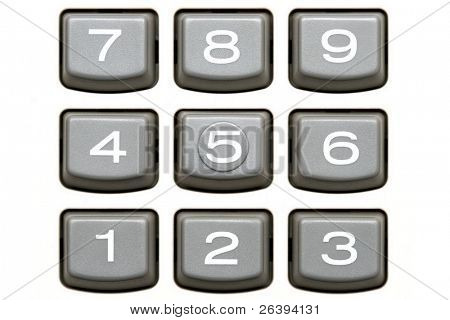 keypad of a big white calculator, macro and isolated