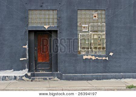 building entrance, urban decay