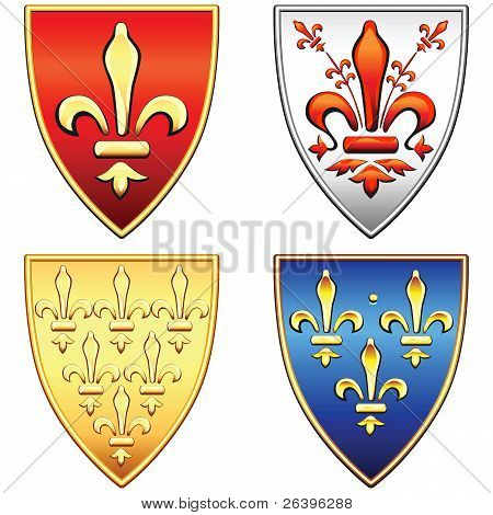 Vector Set Of French Shields With The Arms Of The Flowers Fleur De Lis