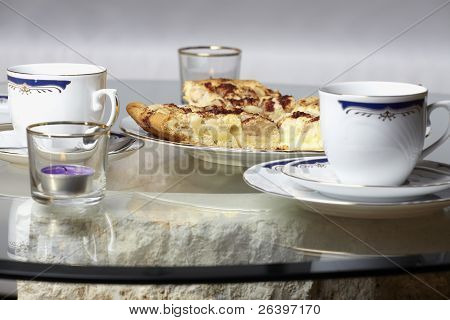 Apple pie and coffee set