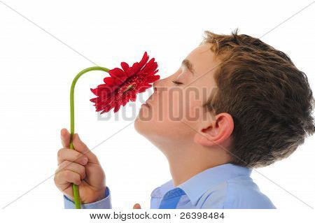 boy with flower