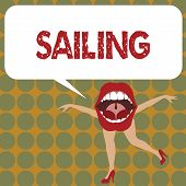 Writing Note Showing Sailing. Business Photo Showcasing Action Of Sail In Ship Or Boat Sport Travel  poster