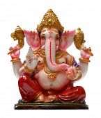 stock photo of ganapati  - Golden Hindu God Ganesha over a white background - JPG