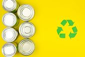 Green Recycle Reuse Sign Symbol With Metal Aluminium Cans On Yellow Background. Eco Ecology Environm poster