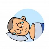Young Man Soaked In Sweat Lying In His Bed. Cartoon Design Icon. Flat Vector Illustration. Isolated  poster