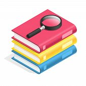 Isometric Book Icon. Stack Of Books, Textbook Pile. Academic Reading, Wisdom And School Education 3d poster