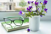 Wildflowers, Book And Glasses On The Window In Rainy Weather. poster