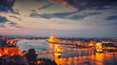 Budapest City Night Scene. View At Chain Bridge, River Danube And Famous Building Of Parliament. Bud poster