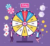 Game Wheel Concept. People Playing Risk Game With Fortune Wheel And Lottery. Casino And Gambling Vec poster