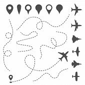 Plane Line Path. Airplane Directional Pathway, Map Dotted Trail And Fly Direction. Aircrafts And Pin poster