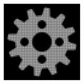 Halftone Pixel Cogwheel Icon. White Pictogram With Pixel Geometric Structure On A Black Background.  poster