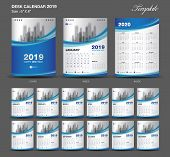 Set  Blue Desk Calendar 2019 Year Size  6 X 8 Inch Template-1 poster