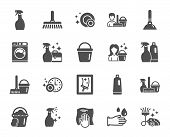 Cleaning Icons. Laundry, Sponge And Vacuum Cleaner Signs. Washing Machine, Housekeeping Service And  poster