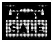 Halftone Pixel Airdrone Sale Icon. White Pictogram With Pixel Geometric Pattern On A Black Backgroun poster
