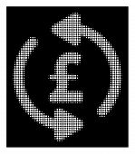 Halftone Pixel Refresh Pound Price Icon. White Pictogram With Pixel Geometric Structure On A Black B poster