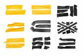 Set Of Yellow, Black Tapes On White Background. Torn Horizontal And Different Size Black Sticky Tape poster