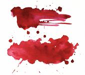 Blood Splatter Painted On White For Halloween Design. Red Dripping Blood Drop Watercolor poster