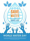 Save Water. Aqua Liquid Drops Healthcare Poster Vector Concept Picture For Water Day. Illustration O poster