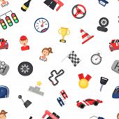 Vector Flat Car Racing Icons Pattern Or Background Illustration. Race Auto Sport Pattern, Podium And poster