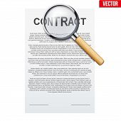 Concept Of Attentive And Careful Research Legal Contract Before Signing. Contract Document And Magni poster