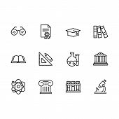 Simple Set Science, Research And Art Vector Line Icon. Contains Such Icon Eyes Glasses, Academic Cap poster