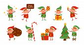 Collection Of Christmas Elves Isolated On White Background. Bundle Of Little Santas Helpers Holding  poster