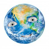 The Earth as a angry Gaia. Globe isolated on white background. Climate change metaphor.  Elements of poster