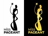 Miss Lady Pageant Logo Sign With Queen Wears Evening Gown And Star Around Lady Queen Vector Design poster